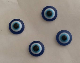 Half Pearl paste glass 10 mm blue eye