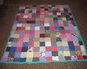Patchwork Quilt - Throw Size Quilt - Scrappy Patchwork / Custom Made to Order - Full Payment