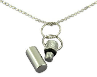 Tiny Silver Poison Vial Necklace Necklace - Capsule Canister Necklace - Secret Stash, Cremation Jewelry 2108