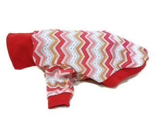Red Chevron Dog Shirt-Dog T-Shirt-Dog Sweater-Long Sleeve Dog Shirt-Dog Clothing-Dog Apparel-Pet Clothes-Shirts for Dogs -Dog Shirts