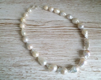 Nucleated Pearl Necklace Ivory Fresh Water Pearls 925 Sterling Silver UK Made