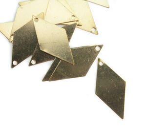 Set of 4 brass diamond pendants