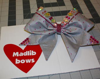 Silver fabric cheer bow