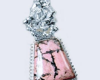Sale: Pink Rhodonite and Sterling Silver Pendant