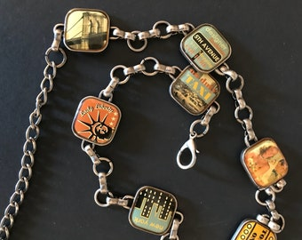 New York City Chain Link Belt or Necklace Vintage Souvenir of New York City Retro