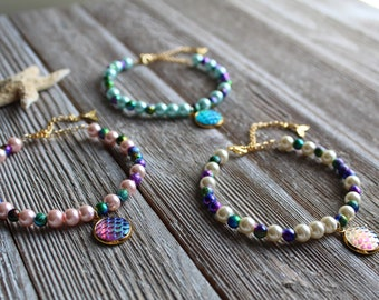 Mermaid Pearl Bracelets | downbytheseaglass