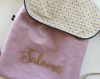 Sac à dos enfant personnalisé sac crèche, sac maternelle en lin enduit imperméable mauve