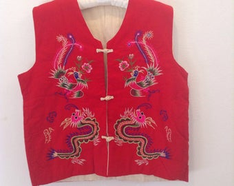 Vintage Asian Embroidered Vest Dragon Chinese Japanese