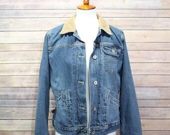 Vintage Eddie Bauer Women's Jean Jacket with Corduroy Collar, Size Medium