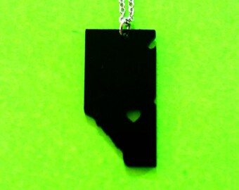 Alberta Strong Proud and True Province Shape Cutout Heart Pendant Necklace Black