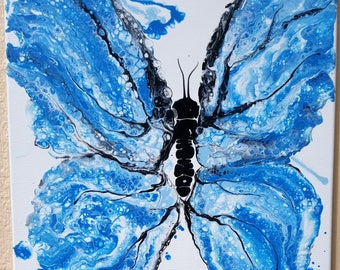 """Original Painting - Butterfly Painting / Impressionist / Acrylic Painting / 16"""" x 20"""" Canvas / Water Color Splash Style / Palette Knife Art"""