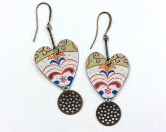 Upcycled Tin Heart Earrings, Decorative, Bronze Tone Findings, Valentines Day