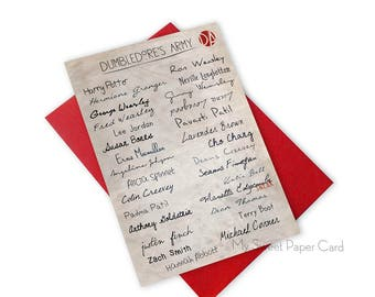 Wizard card Dumbledores army - Member List of Dumbledore's Army parchment card