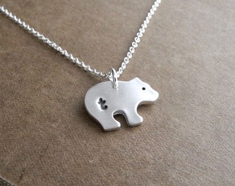 Personalized Tiny Bear Cub Necklace, Monogram Bear Cub, Initial, Fine Silver, Sterling Silver Chain, Made To Order