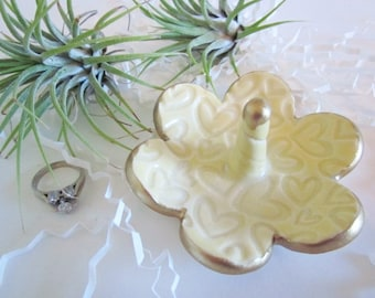 Porcelain yellow ring holder with gold rim, jewelry tray, Ring holder, home decor, kitchen storage