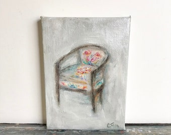 Alice Chair study no. 1 .. original oil painting chair tiny small art