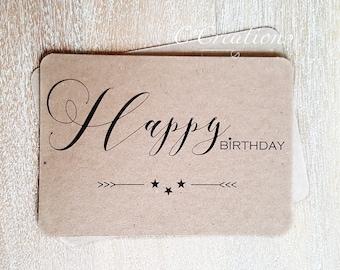 "Card ""Happy Birthday""  kraft and stars"