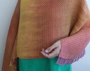 Handwoven poncho. Hand dyed cotton. One of a kind.