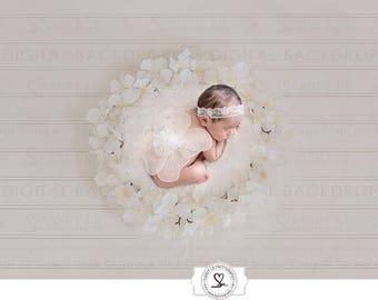 Newborn Digital Backdrop - White Hydrangeas Flower Wreath Background Composite