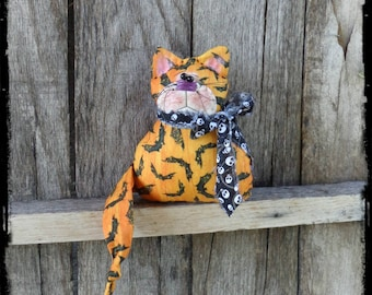 Cat Primitive Folk Art Doll, Kitten Stuffed Animal, Halloween Fall Autumn Home Decor,