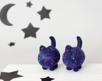 Space cats, galaxy animals, moon cat figurine, star skies nursery decor, needle felted sculpture, home decor, desk accessories, cute gift