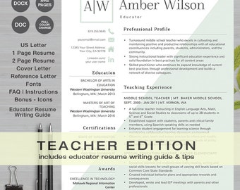 TEACHER RESUME Template MS Word And Apple Pages | 1 U0026 2 Page Resume, Cover
