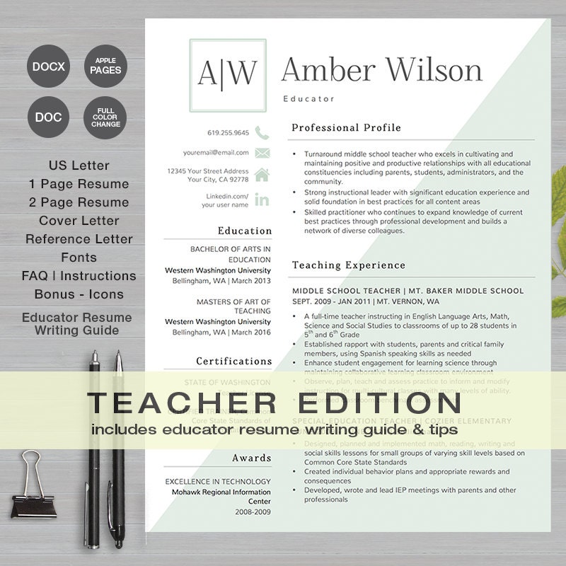 teacher resume template ms word and apple pages 1  u0026 2 page