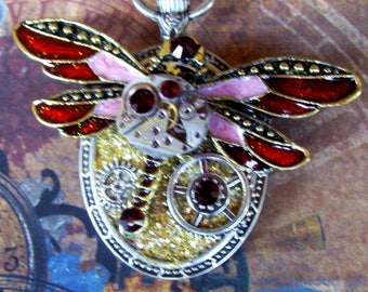Steampunk Pin (P745-2) Dragonfly Brooch, Hand Painted Acrylic, Gears and Swarovski Crystals