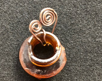 Brown Bottle Top Sea Glass Pendant