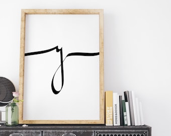 Letter Y Print, Calligraphy Print, modern calligraphy, Typography Print, Letter print, Typography Wall Art, Quote Print, Instant Download