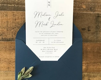 Botanical Wedding Invitation | Minimalist Wedding Invitation | Modern Wedding Invitation | Printable Wedding Invitation