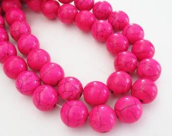 "Hot Pink Round Beads - Howlite Gemstone Beads -Smooth Round Ball - 10mm - 14"" Full Strand - Dark veins Matrix Stone - DIY Jewelry Making"