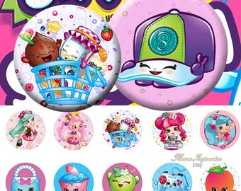 "Shopkins1 - 25 mm One 4x6 high-resolution, 300dpi, JPEG file with 15 1"" Circle images."