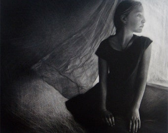 """Original art print """"Girl by the Window"""". Mezzotint. Edition of 100. Young girl standing by the open window. Wind blowing a curtain."""