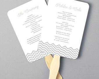 Instant Download | DIY Wedding Program Fan Template - Chevron - Instant DownloadEditable Colors