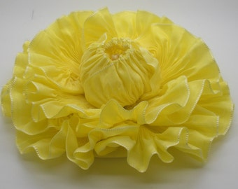 Large Sunny Yellow Ribbon Flower Millinery Applique