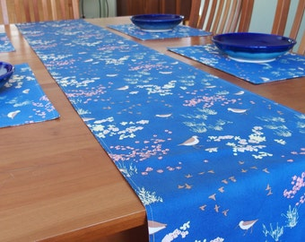 Nautical Table Runner with Sand Piper Birds Sea Shells, Reversible, Summer Tablerunner, Blue, Brown, Pink, Coastline Beach Comber, 14 x 84