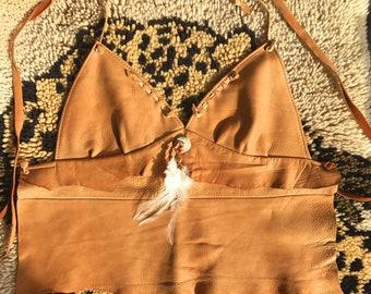 Vintage 70's Genuine Leather Halter Top