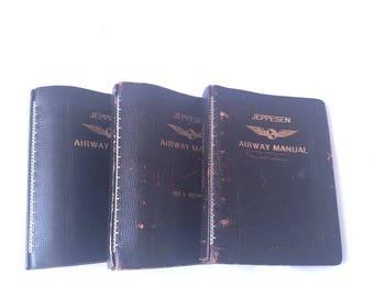 Jeppesen vintage en cuir des voies respiratoires manuels vide beaucoup de vol 3 Journal Steampunk Upcycle planificateur Mantique