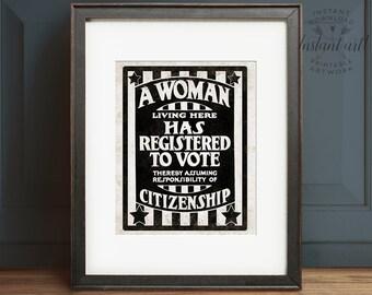 Votes for women, PRINTABLE art, Trending now, Vintage style art, Suffragist, Suffragette, Vintage style, Antique, Industrial art, Poster, Gi