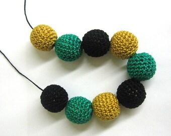 Crocheted beads 22mm, 9pc., crochet craft beads, round crochet balls, handmade textile beads, black, jade, golden
