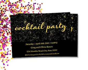 Cocktail Party Invitation, Printable Gold and Black Adult Party Invites, Gold Glitter, Personalize, Your Words and Event, Digital