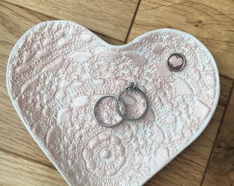 Handmade clay ring dish / trinket dish - rose gold