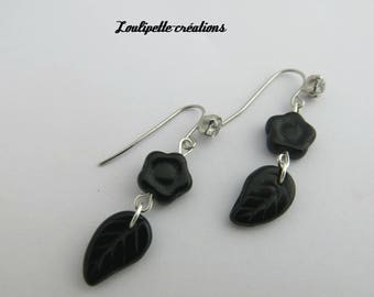"Earrings ""black flowers"""