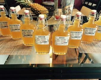 Will you be my Groomsman Flask - Wedding Groomsman Liquor Bottle Flask - Hinged Glass Bottles for Your Liquor - Flask & Front Label