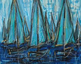 Sailboat Painting, Sailboat Art, Blue, Canvas, 24x24
