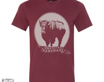 Mens BISON T Shirt vintage soft s m l xl xxl (+ Color Options) hand screen printed t-shirt tee custom