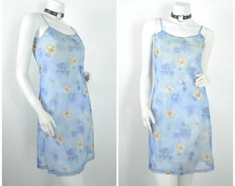 90s powder light blue floral mesh overlay slip dress