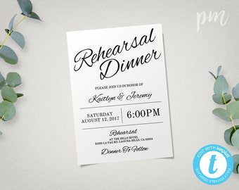 Rehearsal Dinner Invitation Template, Instant Download, Wedding Rehearsal Dinner Invitation Template, Edit in Our Web App, Digital File