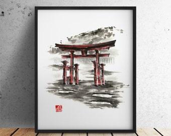 Japanische Torii Tor, Torii Gemälde, Aquarell Geschenk Idee, Japanisch  Hauptdekor